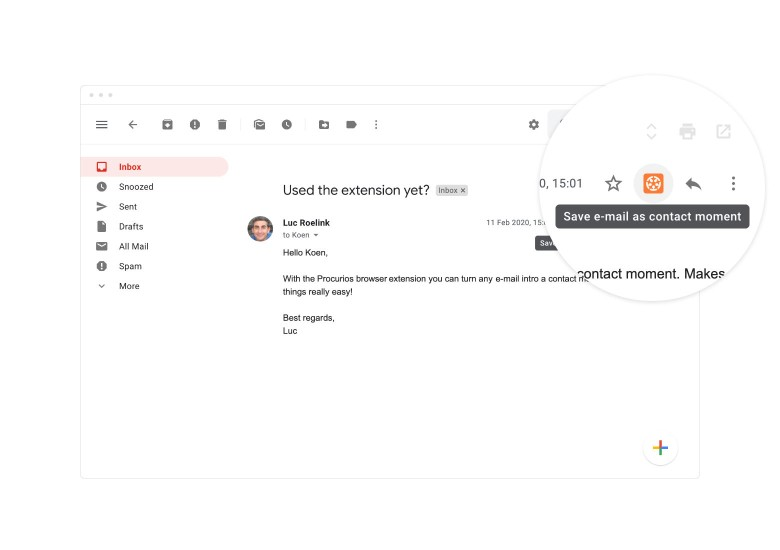 Screenshot of where contact moments are placed in the Gmail interface